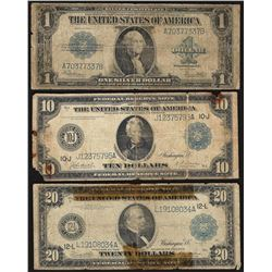 Assorted Lot of (3) Large Size Federal Reserve & Silver Certificate Notes