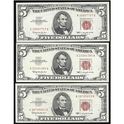 Lot of (3) 1963 $5 Legal Tender Notes