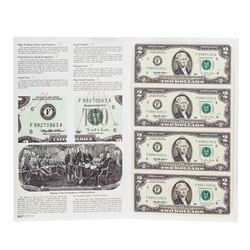 Uncut Sheet of (4) 1995 $2 Federal Reserve Notes