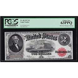 1917 $2 Legal Tender Note PCGS Choice New 63PPQ