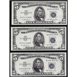 Lot of (3) 1953 $5 Silver Certificate Notes Choice Uncirculated