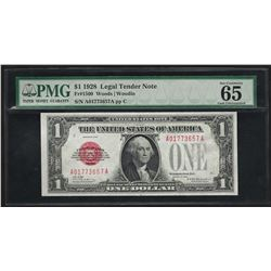 1928 $1 Legal Tender Note Fr. 1500 PMG Gem Uncirculated 65EPQ