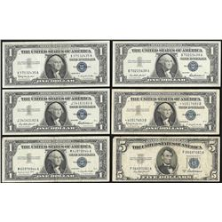 Lot of (6) Assorted 1953/1957 Silver Certificate Notes