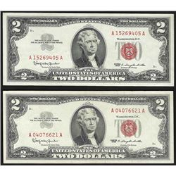 Lot of (2) 1963 $2 Legal Tender Notes