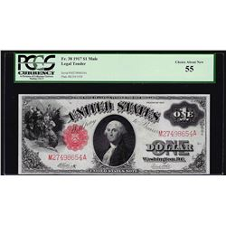 1917 $1 Legal Tender Note Mule PCGS Choice About Uncirculated 55