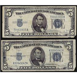 Lot of (2) 1934D $5 Silver Certificate Notes
