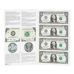 Uncut Sheet of (4) 2001 $1 Federal Reserve Notes