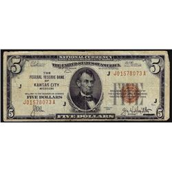 1929 $5 The Federal Reserve Bank of Kansas City Missouri Note