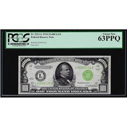 1934 $1,000 Federal Reserve Note Light Green Seal Fr. 2211-L PCGS Choice New 63P