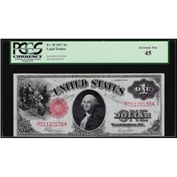 1917 $1 Legal Tender Note PCGS Extremely Fine 45
