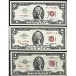 Lot of (3) $2 Legal Tender Notes