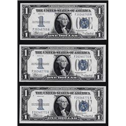 Lot of (3) Consecutive 1934 $1 Silver Certificate Funnyback Notes