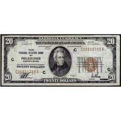 1929 $20 Federal Reserve Bank of Philadelphia National Currency Note