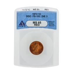 1972 Lincoln Cent DDO FS-103 Die 3 ANACS MS65RD
