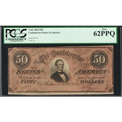 1864 $50 Confederate States of America Note T-66 PCGS New 62PPQ