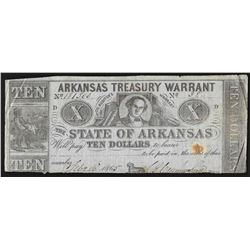1865 $10 State of Arkansas Treasury Warrant Note