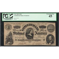 1864 $100 Confederate States of America Note T-65 PCGS Extremely Fine 45