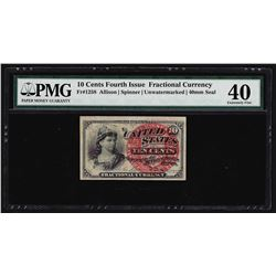 1863 Ten Cents Fourth Issue Fractional Currency Note PMG Extremely Fine 40