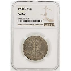1938-D Walking Liberty Half Dollar Coin NGC AU50