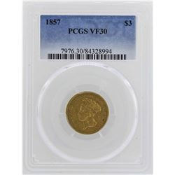 1857 $3 Indian Princess Head Gold Coin PCGS VF30