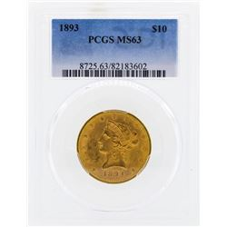 1893 $10 Liberty Head Eagle Gold Coin PCGS MS63