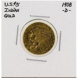 1908-D $5 Indian Head Half Eagle Gold Coin