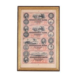 Framed Uncut Sheet of 1800's $1/1/2/3 Stonington Bank CT Obsolete Notes