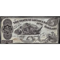 1862 $5 The State of Louisiana Obsolete Bank Note