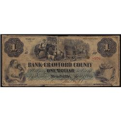 1861 $1 Bank of Crawford County Civil War Era Obsolete Bank Note