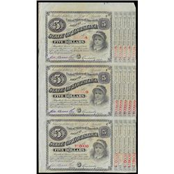 Uncut Sheet of (3) State of Louisiana Baby Bond Obsolete Notes