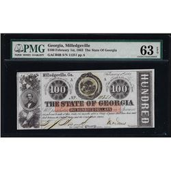 1863 $100 State of Georgia Note PMG Choice Uncirculated 63EPQ