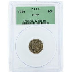 1889 Three Cent Nickel Piece Proof Coin PCGS PR66