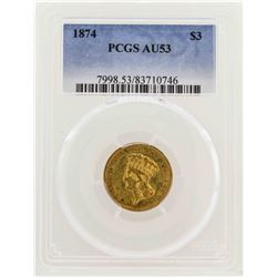 1874 $3 Indian Princess Head Gold Coin PCGS AU53