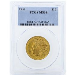 1932 $10 Indian Head Eagle Gold Coin PCGS MS64