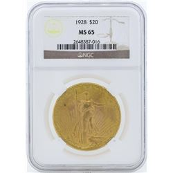 1928 $20 St. Gaudens Double Eagle Gold Coin NGC MS65