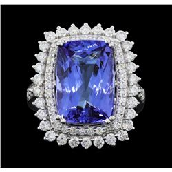 Platinum 9.18ct Tanzanite and Diamond Ring