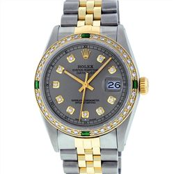 Rolex Mens Two Tone 14KT Yellow Gold 1.00ctw Emerald and Diamond Datejust Wristw