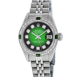 Rolex Ladies Stainless Emerald Sapphire and Diamond Datejust Wristwatch