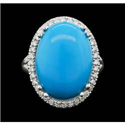 14KT White Gold 8.18ct Turquoise and Diamond Ring