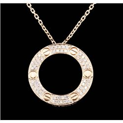 18KT Rose Gold 0.62ctw Diamond Pendant with Chain