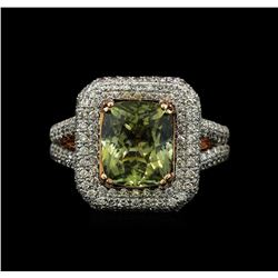 14KT Rose Gold 4.52ct GIA Cert Green Sapphire and Diamond Ring