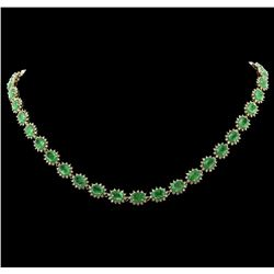 14KT Yellow Gold 26.64ctw Emerald and Diamond Necklace