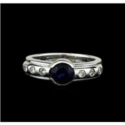 14KT White Gold 1.28ct Blue Sapphire and Diamond Ring