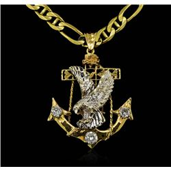 14KT Tri-Color Gold Eagle & Anchor 1.65 ctw. Diamond Pendant with Chain