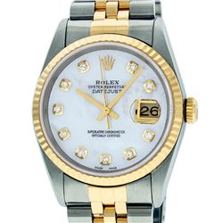 Mens Rolex 36mm Two Tone Yellow Gold MOP Diamond DateJust Wristwatch