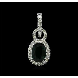 14KT White Gold 3.75ct Tsavorite Garnet and Diamond Pendant