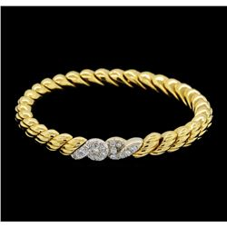 14KT Two Tone 0.80ctw Diamond Bangle Bracelet
