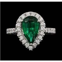 Platinum 1.90ct Emerald and Diamond Ring