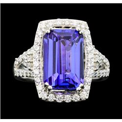 Platinum GIA Certified 6.26ct Tanzanite and Diamond Ring