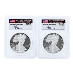 Set of (2) 2015-W $1 American Silver Eagle Coins PCGS PR70DCAM
